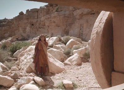 Mary Magdalene discovers the empty tomb (John 20.1) in 'AD - The Bible Continues'