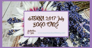 "doTERRA 2017 July BOGO: FAQS  What is the doTERRA 2017 July BOGO sale?  A few times a year,  doTERRA offers a BOGO,  or Buy One Get One sale.  Typically about a week long,  each day will have a new BOGO deal.  For purchasing the specified essential oil or doTERRA product,  you will get a second product or doTERRA essential oil for FREE!See past examples of doTERRA BOGO offers in my post "" doTERRA BOGO Week Deals February 2017"".  What is today's BOGO oil from doTERRA?"