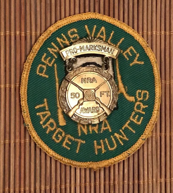 Vtg NRA National Rifle Association Patch Medal Penns Valley 50 ft Target Hunter #NRA