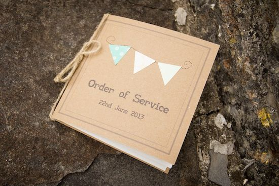 Steph & Ross' rustic vintage wedding, shot by Ashley Ward Photography. Order of service with bunting details.