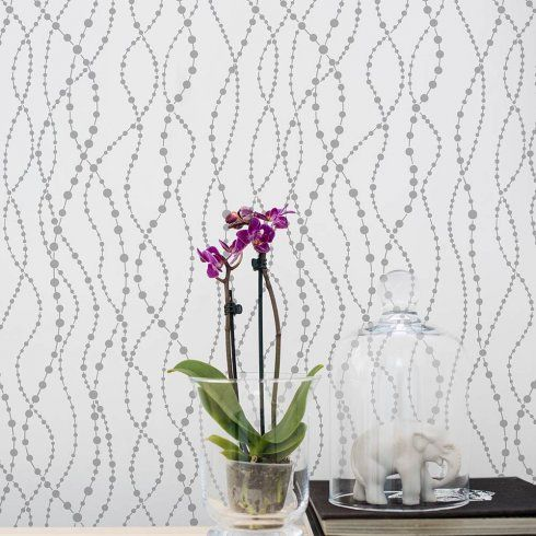 The Pearls Allover Stencil is an elegant stencil pattern, with its vertical flowing strings of pearls, brings sophisticated elegance to any space. Via Cutting Edge Stencils http://www.cuttingedgestencils.com/pearls-stencil-pattern-pearl-wallpaper-stencils-modern-design.html