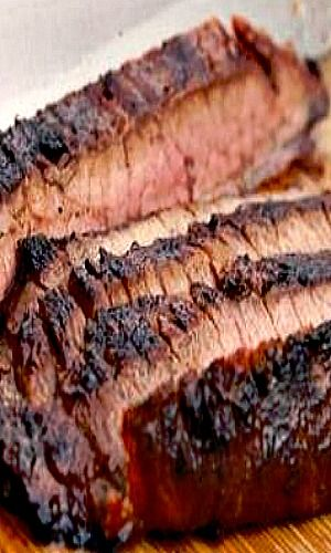 STEAKHOUSE-STYLE GRILLED MARINATED FLANK STEAK 1/2 cup Worcestershire sauce 1/4 cup soy sauce 3 tablespoons brown sugar 4 anchovy filets 2 cloves garlic 2 tablespoons Dijon mustard 2 tablespoons tomato paste 1/2 cup vegetable oil 2 tablespoons chopped chives 1 medium shallot, minced (about 2 tablespoons) 1 whole flank steak, about 2 pounds