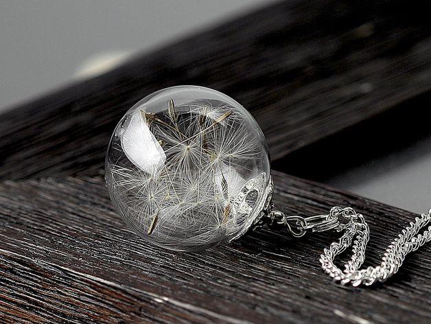Echte Pusteblumen silber Halskette k049