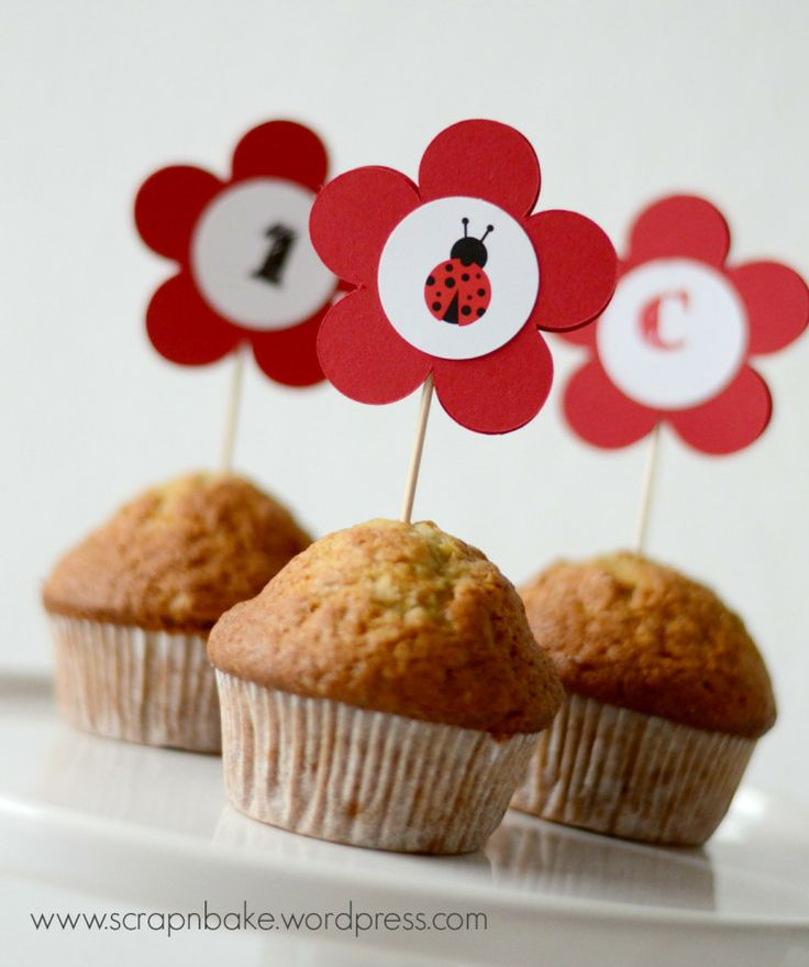 Marienkäfer - Ladybug - Party - Kinder - Geburtstag - Muffin - Topper