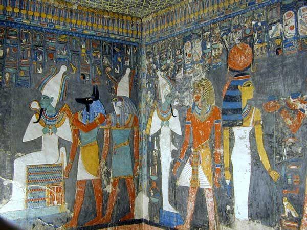 Parete della tomba di Horemheb, ca 1323-1295 a. C. Pittura su intonaco. Tomba di Horemheb Valle dei Re, Tebe, Egitto.