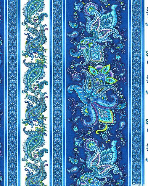 Belize - Glowing Paisley Stripe - Sapphire Blue