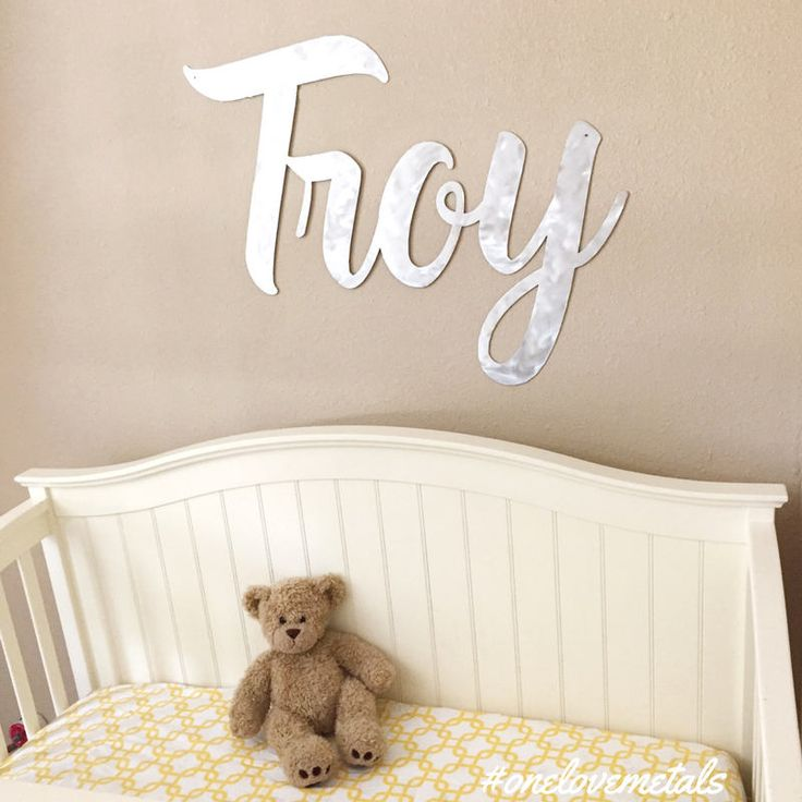 15 best images about baby nursery crib names on pinterest this extra large metal wall art is a personalized baby name sign and the highlight of negle Gallery
