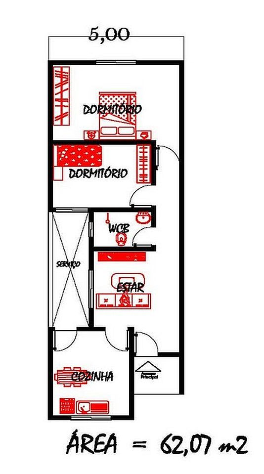 Só Projetos Grátis: Projeto grátis de uma casa com 62 M² para terrenos com 5 metros de largura
