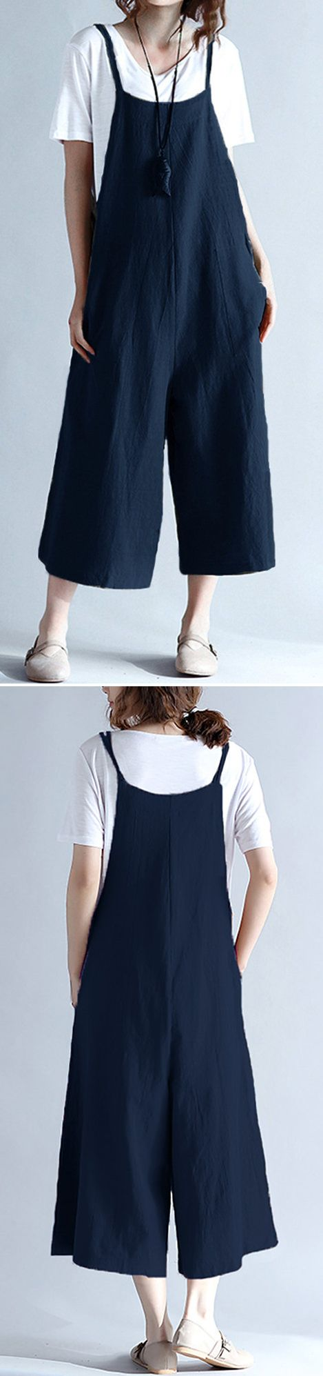 US$ 19.62 Casual Sleeveless Straps Pockets Pure Color Wide Leg Jumpsuits