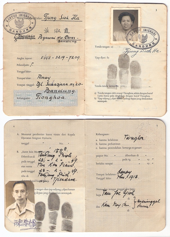 Early Chinese Immigrant ID Card in Indonesia under the colonies era