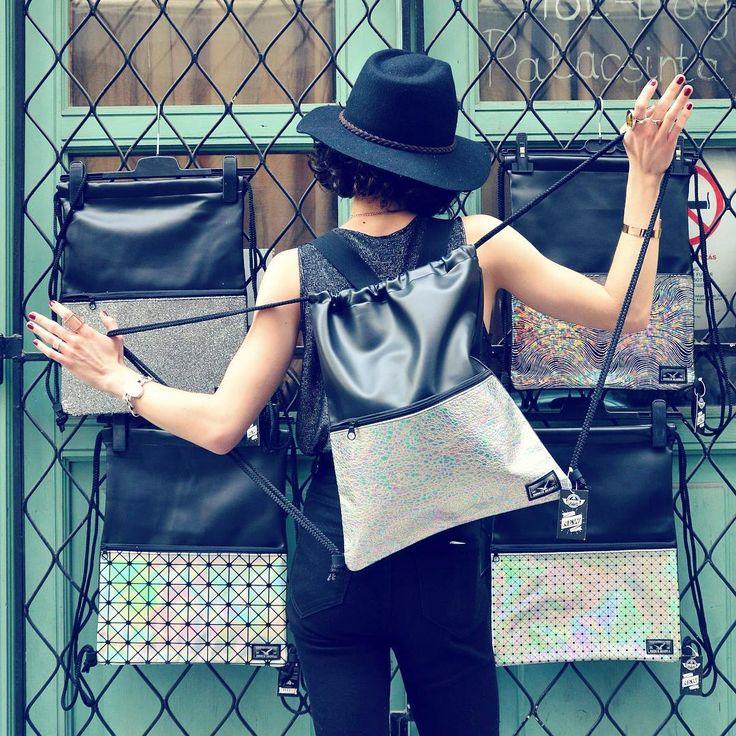 Everyday disco fever  #szputnyik #szputnyikshop #budapest #unique #gymbag #backpack #fluorescent #iridescent #design #rockandroll #chic #holographic #patterns