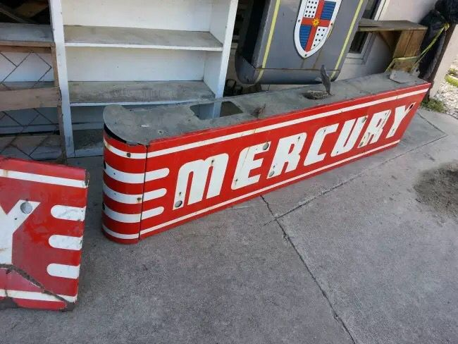 This amazing vintage, double sided, porcelain Mercury dealership neon sign walked into our lives this morning!  What a badass piece of local history!!