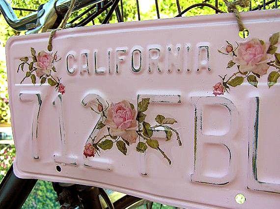 Pink Vintage License Plate Rose Spray by CutePinkStuffANDMORE