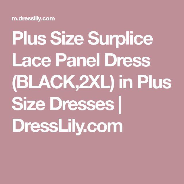 Plus Size Surplice Lace Panel Dress (BLACK,2XL) in Plus Size Dresses   DressLily.com