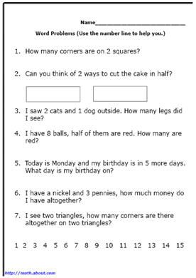 Word Problem Worksheets for First Grade Math | Word ...