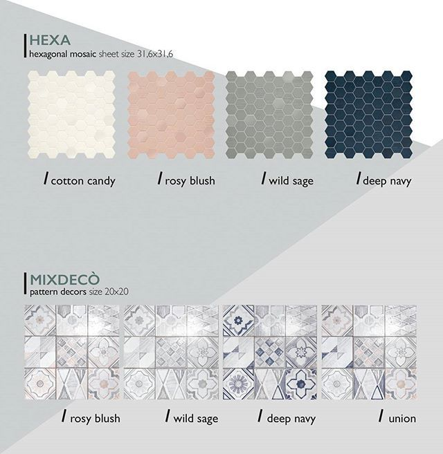 Latest color trends matching with fashion, contemporary style and design: these are Hexa and Mixdecò, the decorative side of the project, from white to pink, from green to blue shades, four modern and refined decors and mosaics hues. Here you are the second, astonishing part of Betonstil project. #terratinta #madeinitaly #tiles #design #scandinavian #notaclassicstory #terratintastyle #Betonstil #newcollection