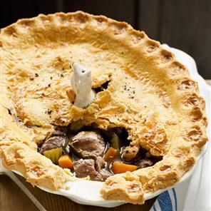 Game pie recipe_    By Bryn Williams_Bryn William's game recipe is a fabulous dinner party dish; the filling can be a selection of whatever you like. A mix of pheasant, venison and pigeon is a great combination.
