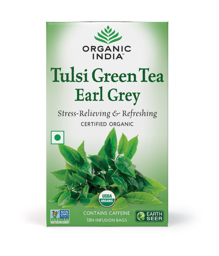 Organic India Tulsi Green Tea Earl Grey 18 Tea Bags