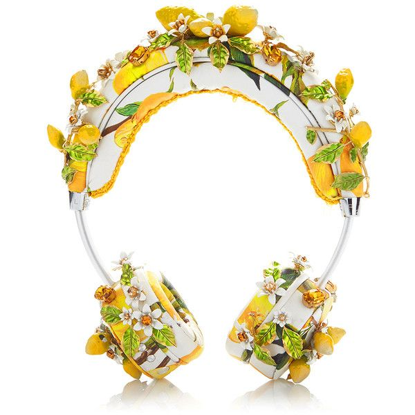 Dolce & Gabbana Lemon Floral Headphones ($5,995) ❤ liked on Polyvore featuring accessories, tech accessories and dolce&gabbana
