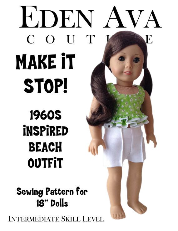 """Eden Ava Couture 1960s Make It Stop Beach Outfit Pattern for 18"""" American Girl Doll on Etsy, $3.99"""