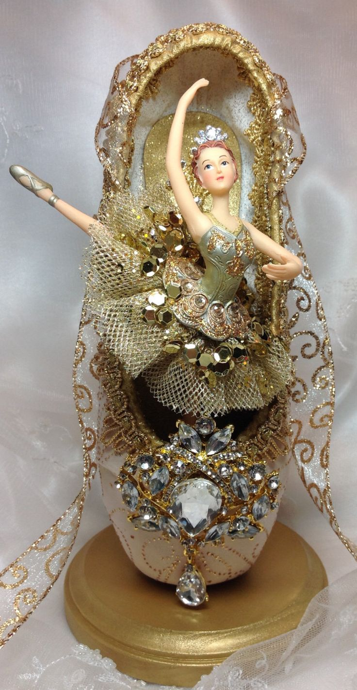 Ivory and gold ballet centerpiece. OOAK Decorated pointe shoe. Ballerina centerpiece. Sleeping Beauty Gold Fairy. Diamonds. Ready to Ship. by DesignsEnPointe on Etsy https://www.etsy.com/listing/453947742/ivory-and-gold-ballet-centerpiece-ooak
