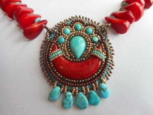 Turquoise and Coral Beaded Pendant, Necklace and Earrings