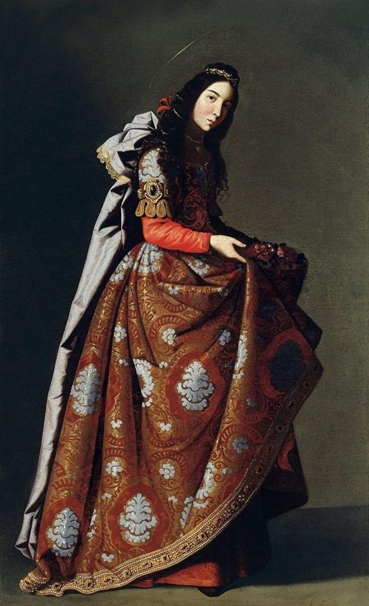 """Art from Spain - Francisco de Zurbarán (1598 – 1664). """"Santa Casilda"""", hija de un rey árabe, convertida al cristianismo, socorría a cautivos con alimentos. Sorprendida por su progenitor, se obró el milagro transformándose los víveres que llevaba escondidos entre sus ropas en rosas. Murió martirizada en 1087. Este lienzo fue parte del botín español que el mariscal Soult se llevó a Francia. La pintura pasó por distintas manos hasta 1979, que ingresó en la colección Thyssen-Bornemisza."""