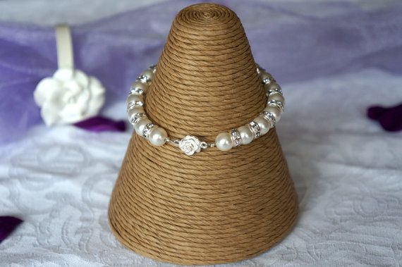 Pearl Bracelet Bridal Jewellery Swarovski by Makewithlovecrafts, £23.25