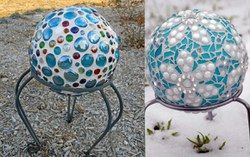 Two different examples of gazing ball designs to make yourself!