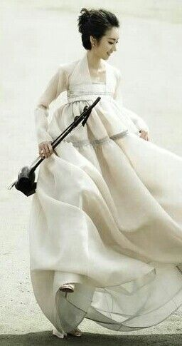 Modern #Hanbok, traditional Korean dress with white semi #jeorgori & white #chima