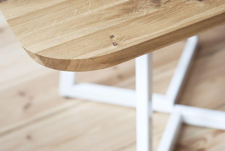 Handmade solid oak square table (105 x 105 cm) with powder steel legs by poppyworks photo: Marta Niedbalec