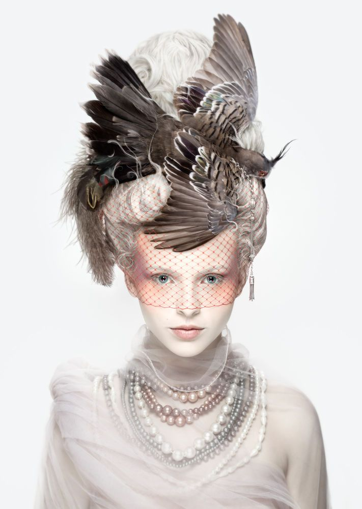 """""""La Coiffure Oiseau"""" (2013) by Alexia Sinclair - """"a naval clash that occurred between the British and the French in 1778 was to inspire the extravagant pouf worn by Marie Antoinette, known as La Belle Poule"""". From the """"Les Antoinettes"""" collection, a study of Marie Antoinette inspired by her famed headdresses know as """"the pouf""""."""