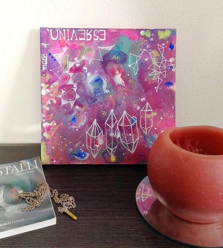 """Stampa artistica """"fatto di universo"""" stampa multicolore, poster universo, stampa galassia arcobaleno, quadro astratto universo, quadrato di laKuki su Etsy"""