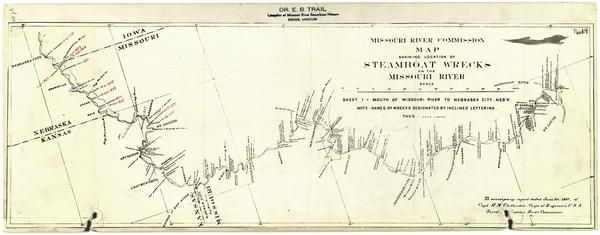 Missouri River Commission map showing location of steamboat wrecks on the Missouri River (1897), sheet I