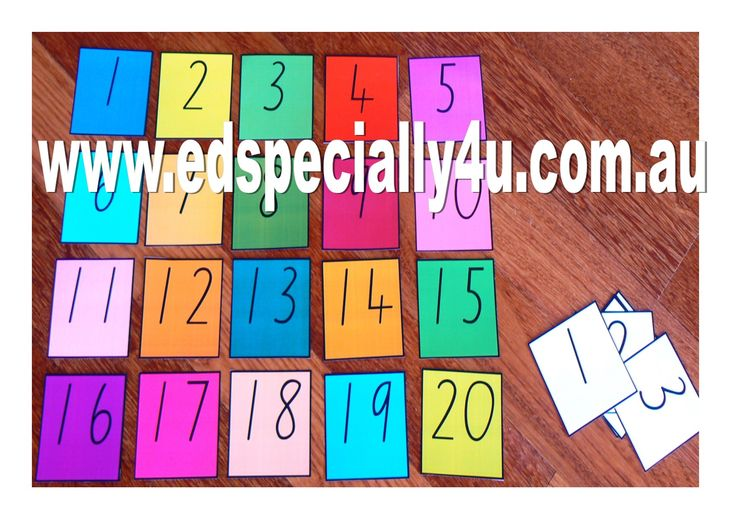 Small Numeral cards 1-20. This colourful and motivating resource is great for hands on learning as it comes with both coloured and white backgrounds. Cards can be matched, selected and named. www.edspecially4u.com.au