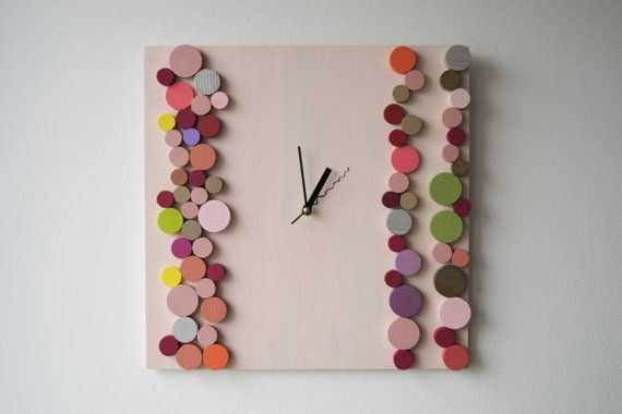 Deco Candy Bubbles / Wood wall clock / Geometric by DecoBoxRo, $109.00