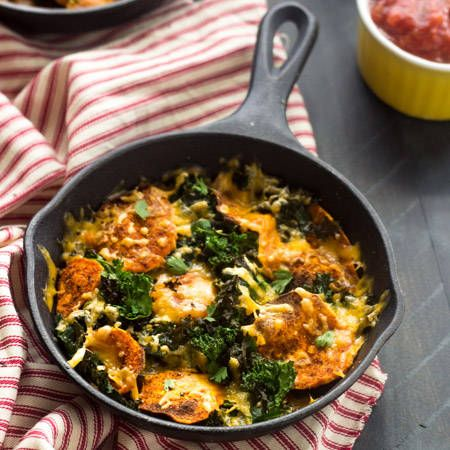 Healthy Nachos with Kale and Spicy Sweet Potatoes {Gluten Free, Vegetarian, Super Simple, Low Carb} via @FoodFaithFit