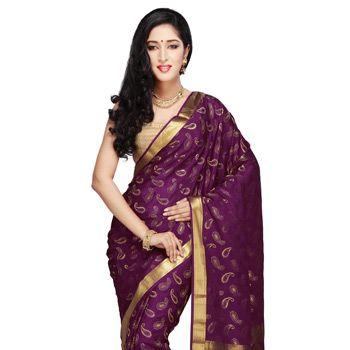 Dark Purple Pure Mysore Silk Saree with Blouse
