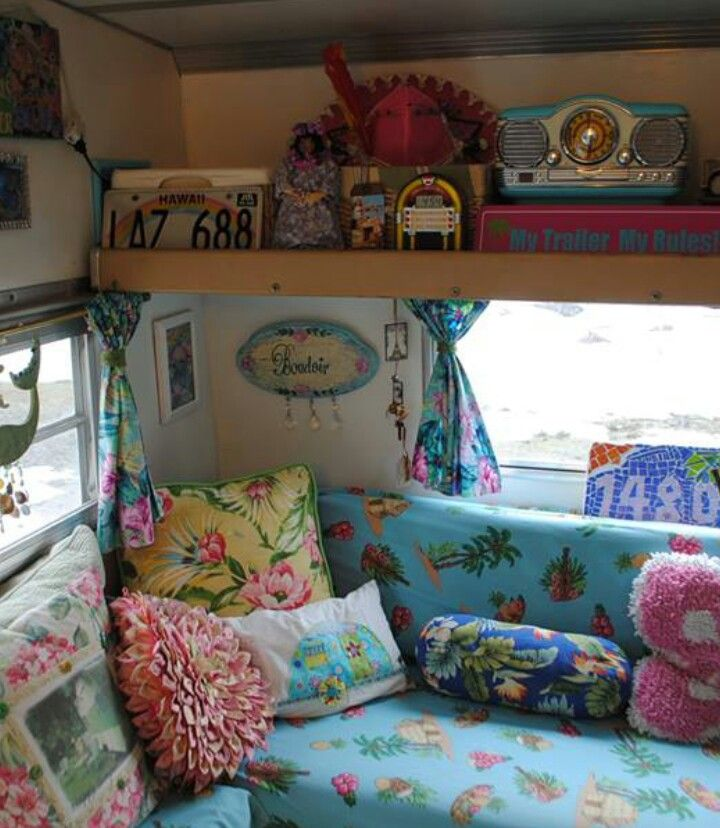 Bright and colourful camper; I like the color ideas for this one.