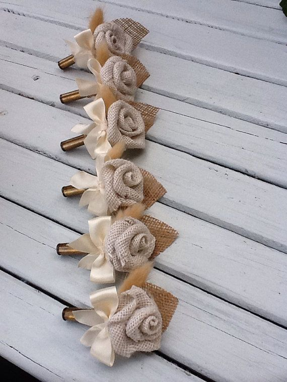 Bullet & Burlap Rosette Boutonniere by WeddingFavorsandMore, $12.95 Maybe add a hint of the wedding colors?