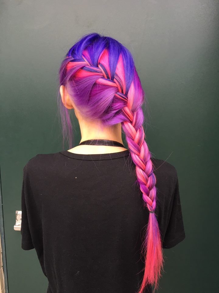 Our dear friends at Royal Salon in Taipei did this unbelievable look using Ultra Violet, Cotton Candy Pink, Violet Night and a touch of Hot Hot Pink. For stunning color this vibrant, remember to lighten your hair to a level 9 or 10 blonde before applying our semi-permanent dyes!