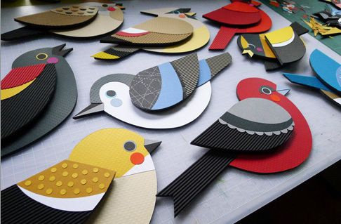 paper birds, window display