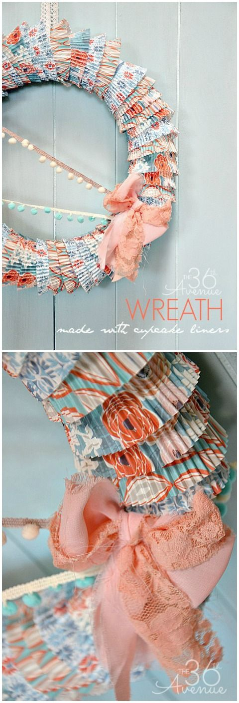Spring Wreath Tutorial made with Cupcake Liners ...Cute and easy way to decorate for Spring!  @Matt Valk Chuah 36th Avenue .com