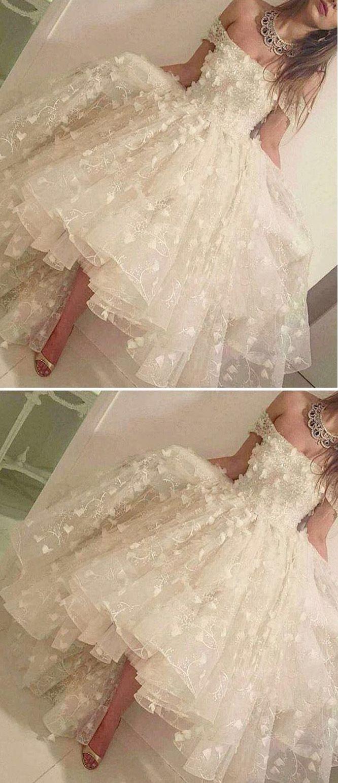 White, tea length, off the shoulder dress