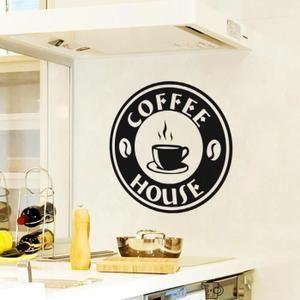 Stickers Noire Créative Café Sticker mural pour Cuisine Déc