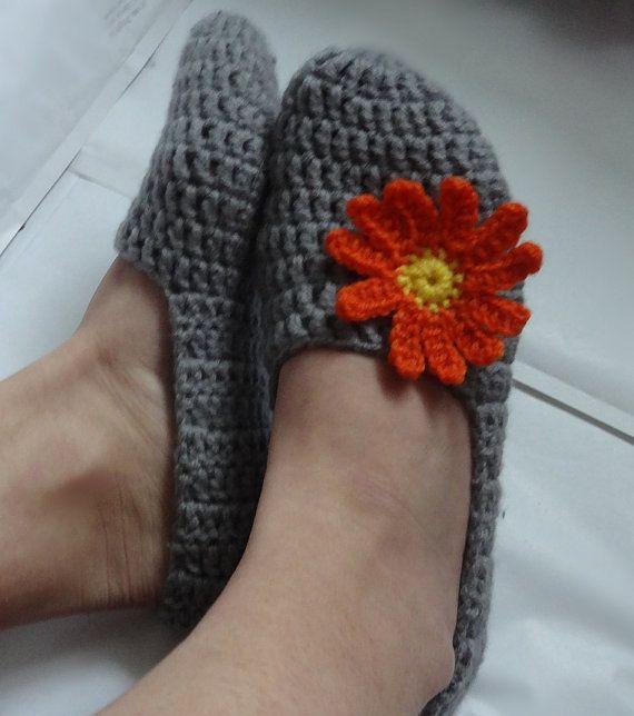 Crochet Slippers for Women Gray Orange flowers   Home by Ifonka, $18.00