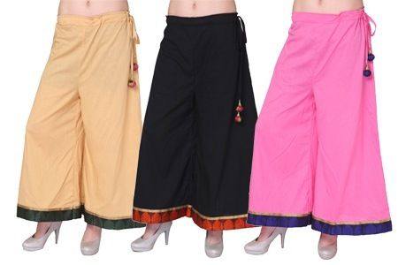 Fabulous Cotton Palazzo Pants with Brocade Border For Women's @ Rs 499