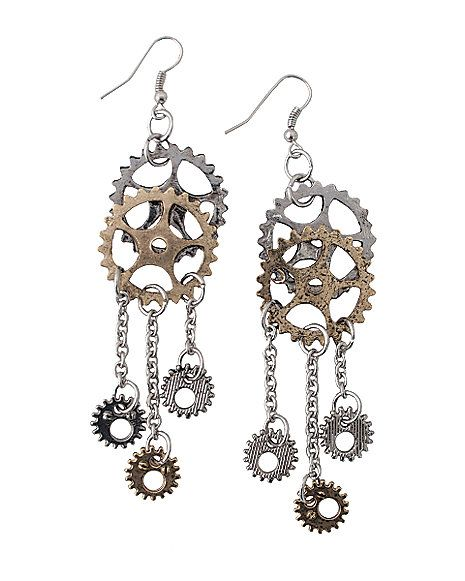 Steampunk Gear Earrings - Spirithalloween.com