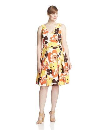64% OFF Melissa Masse Plus Women's Sleeveless V-Neck Fit and Flare Dress (Poppy Palm)