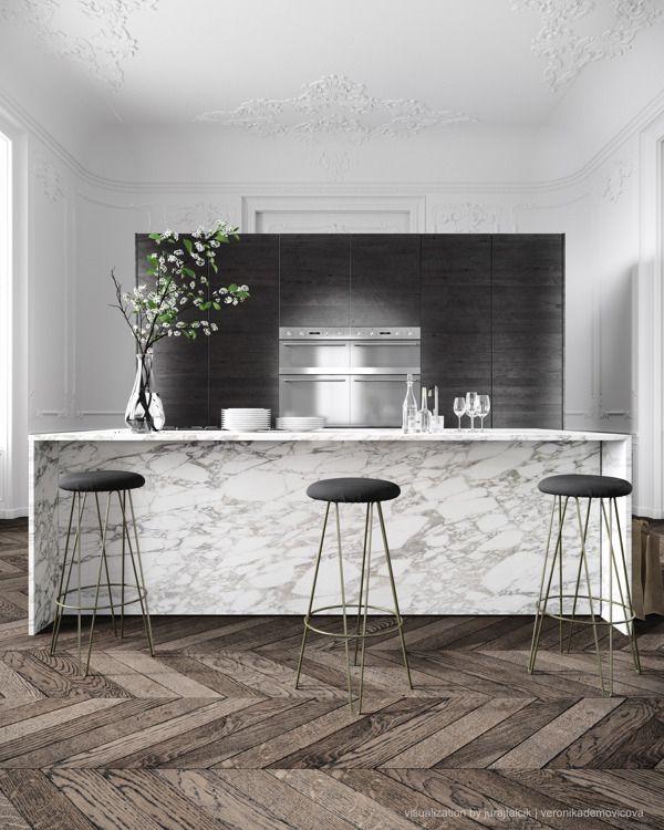 Kitchen of Parisian apartment by Jessica Vedel via Juraj Talcik
